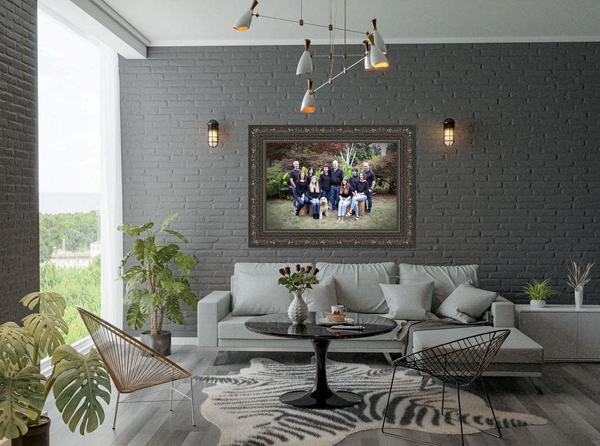 Framed Canvas on living room wall Family Portraits Family Photography West Linn Lake Oswego Portland Vancouver